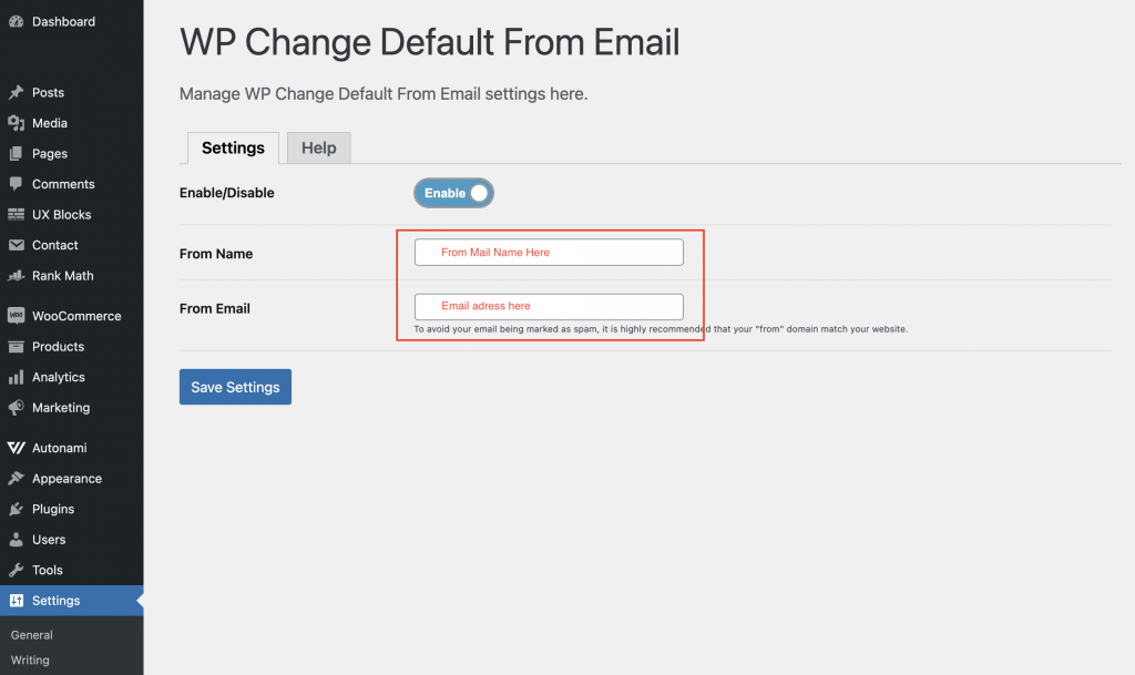 WP Change Default From Email
